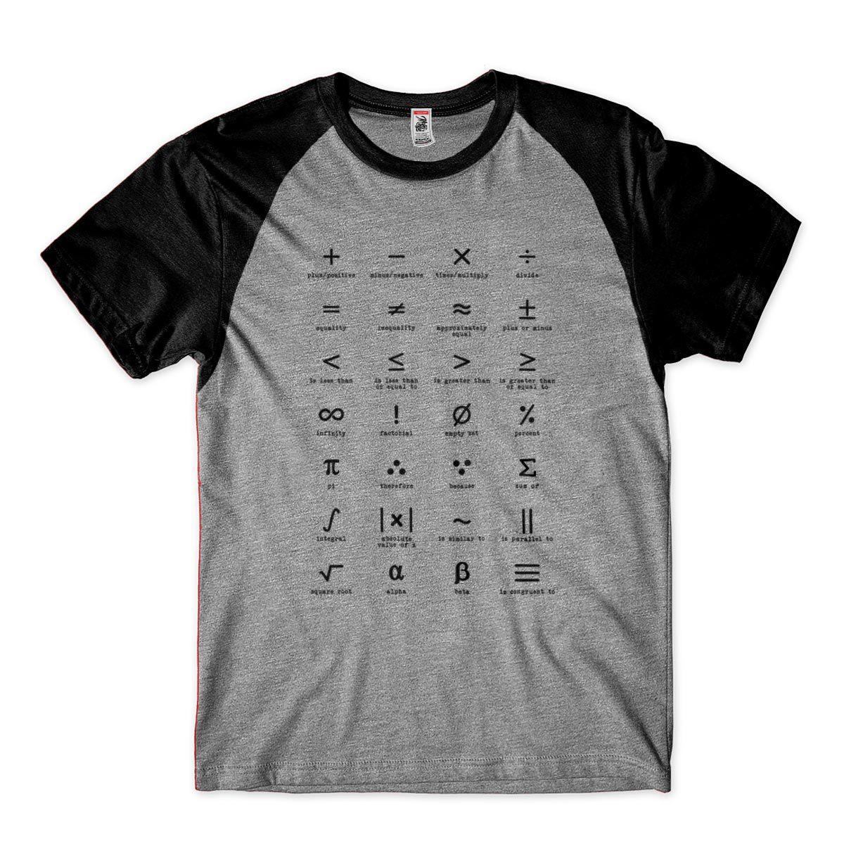 Camisa Masculina Matematica Sinais Simbolos