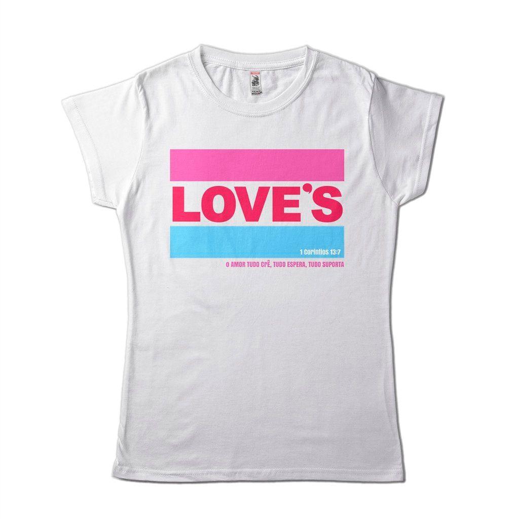 Camisa Religiosa Feminina Loves Frase Biblia Espiritualidade