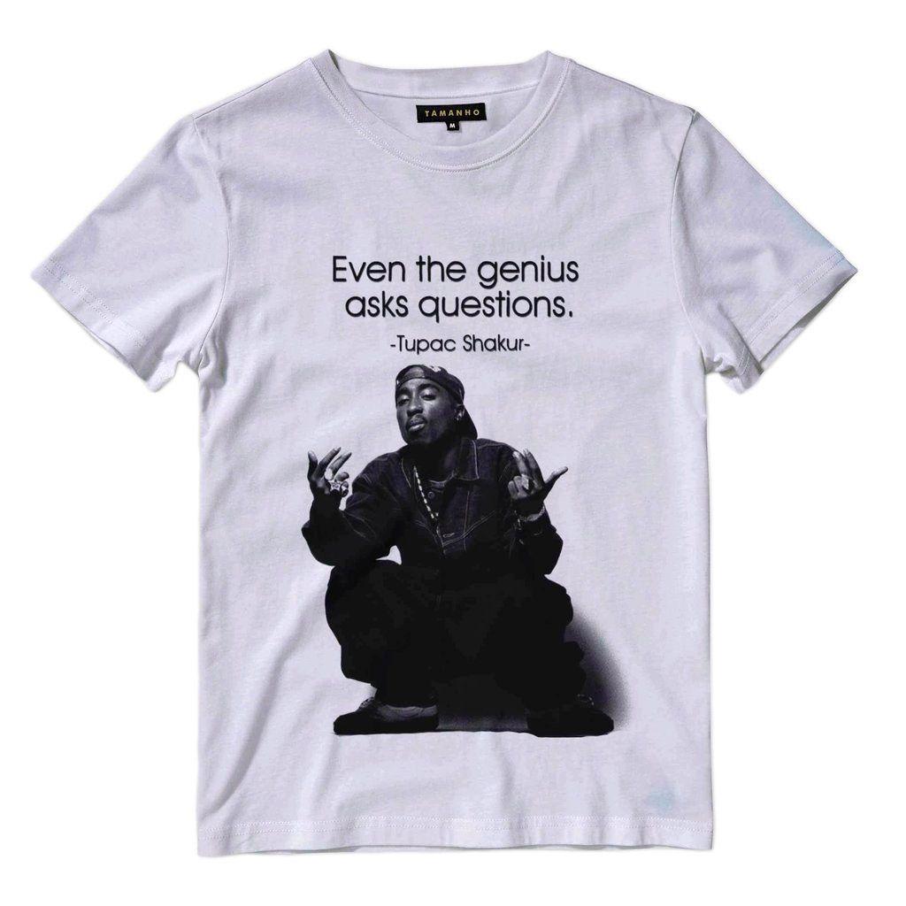 camiseta 2pac shakur genious biggie Camisa Rap branca