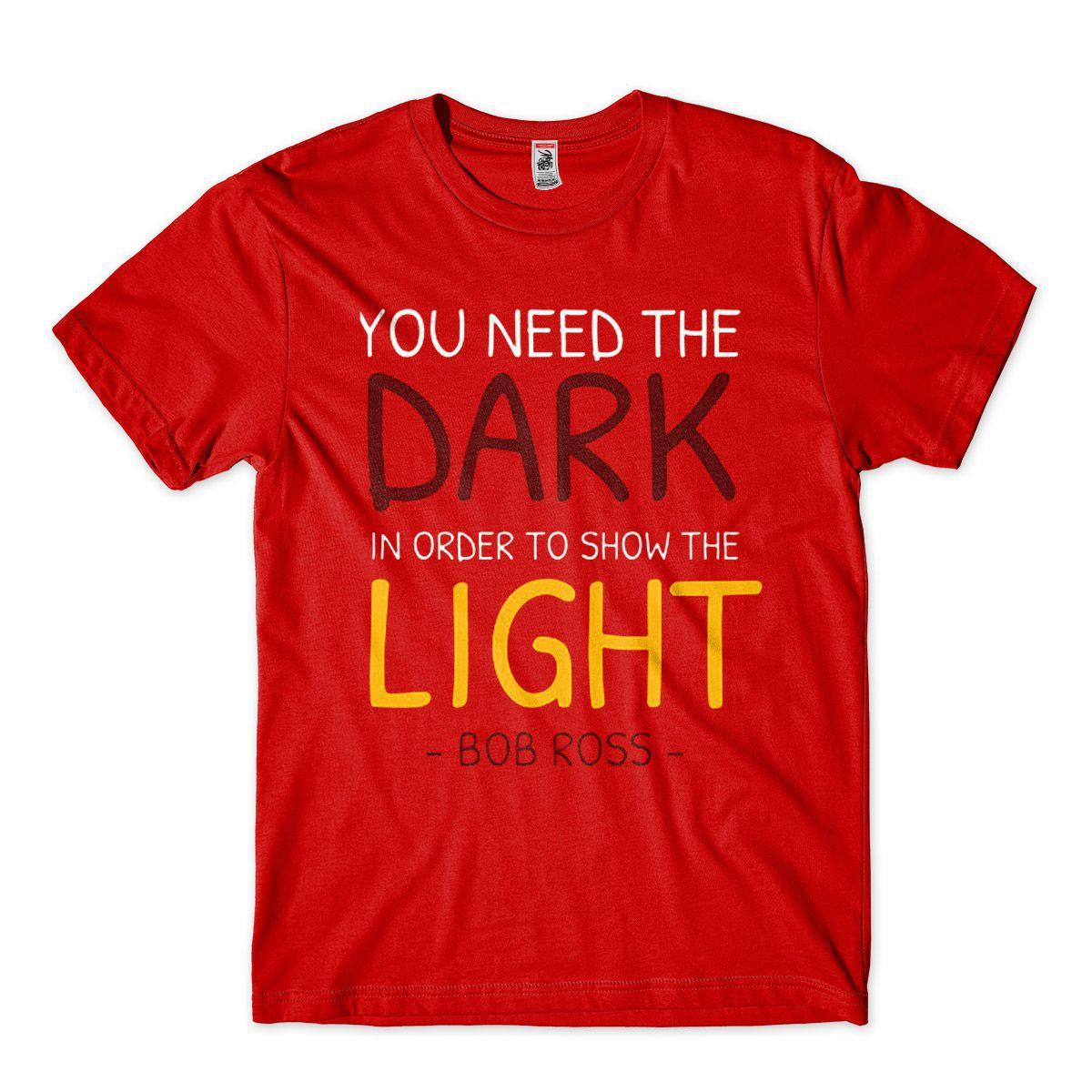 Camiseta Artista Bob Ross A Luz precisa da Escuridao