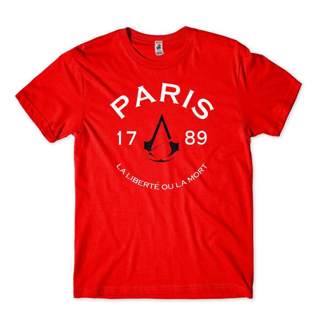 camiseta assassins creed origins masculina paris vermelha