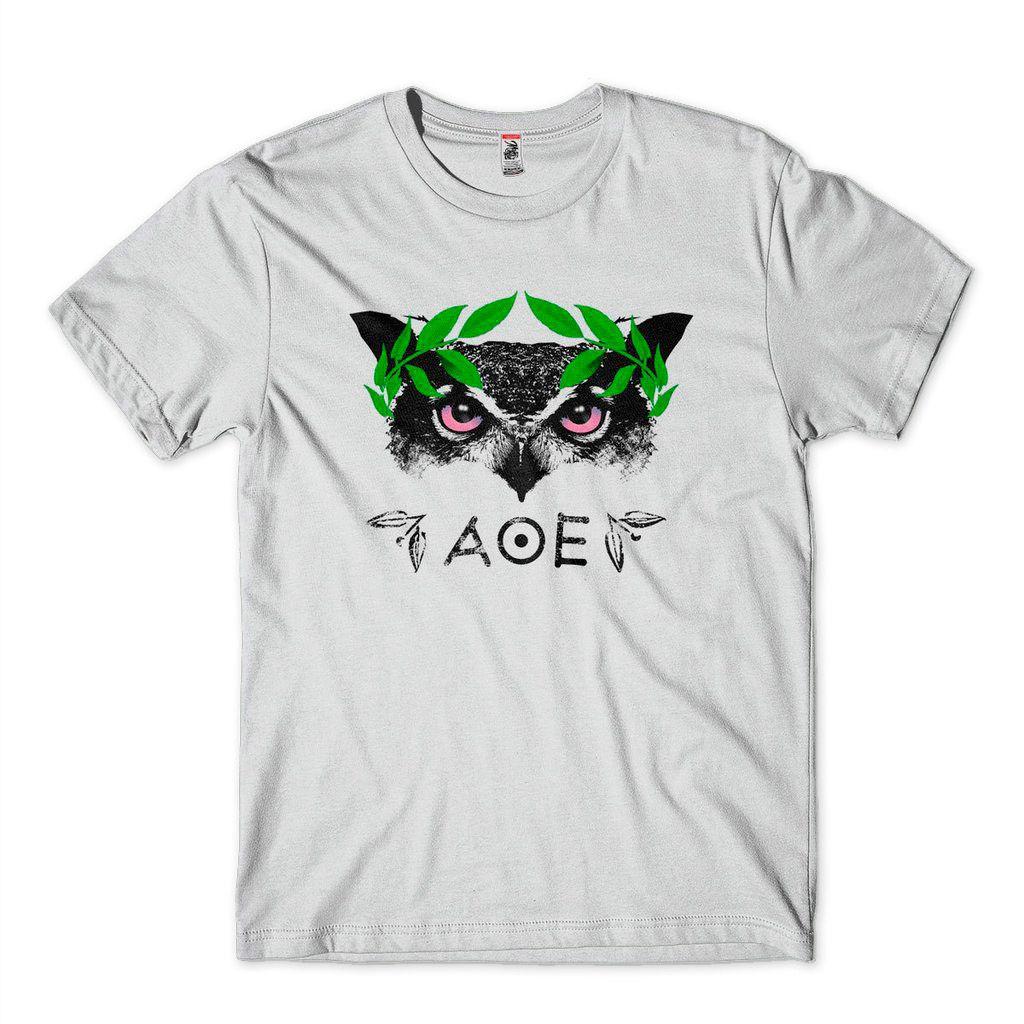 Camiseta Athena Sabedoria Coruja Coroa Louro Filosofia