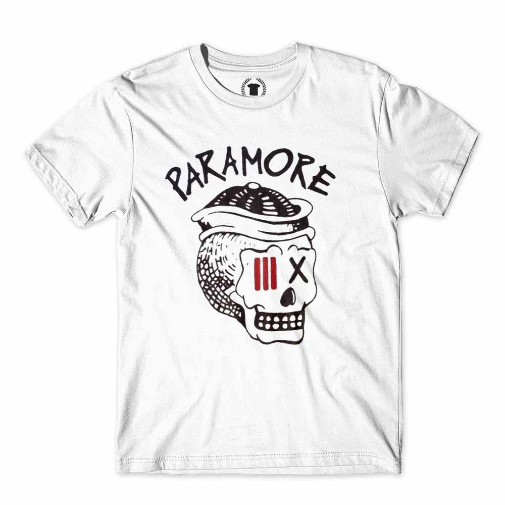 camiseta banda de rock paramore caveira branca