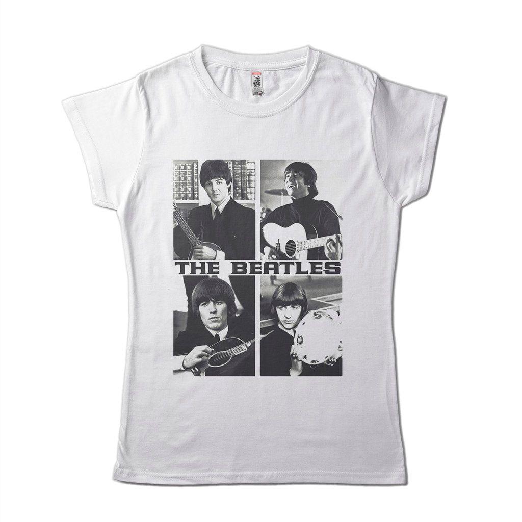 camiseta beatles feminina branca bandas de rock galeria