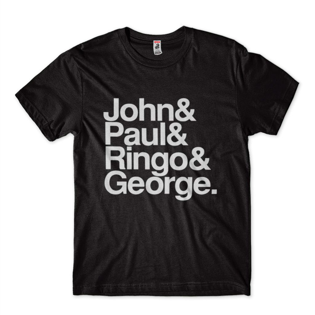 camiseta beatles masculina frases john paul george preta
