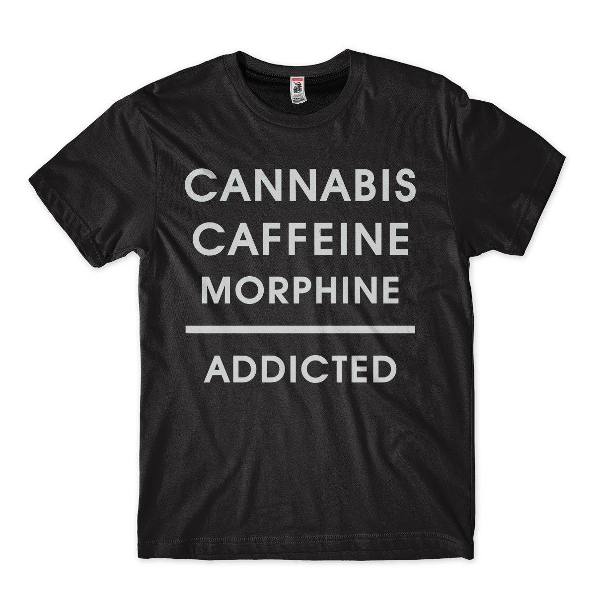 Camiseta Cannabis Caffeine Morphine Addictedn Vicios