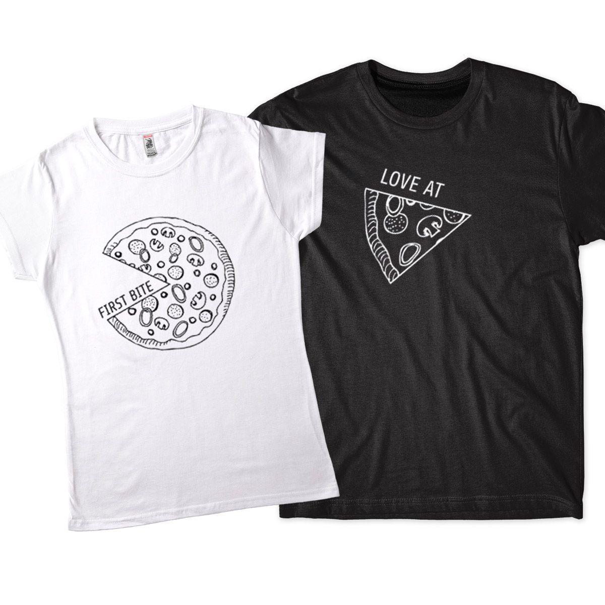 camiseta casal pizza engracada combinando kit