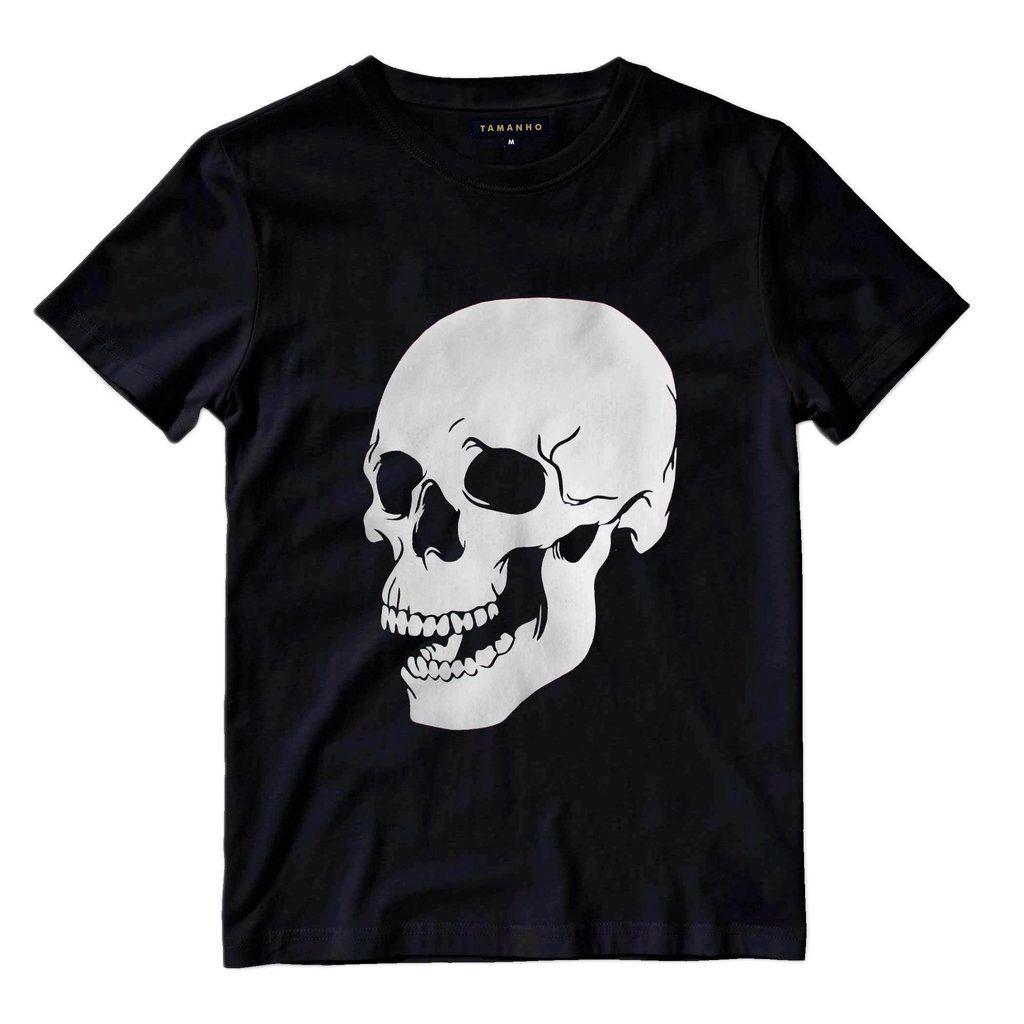 Camiseta Caveira 3D Cranio Masculina Camisa Blusa Preta