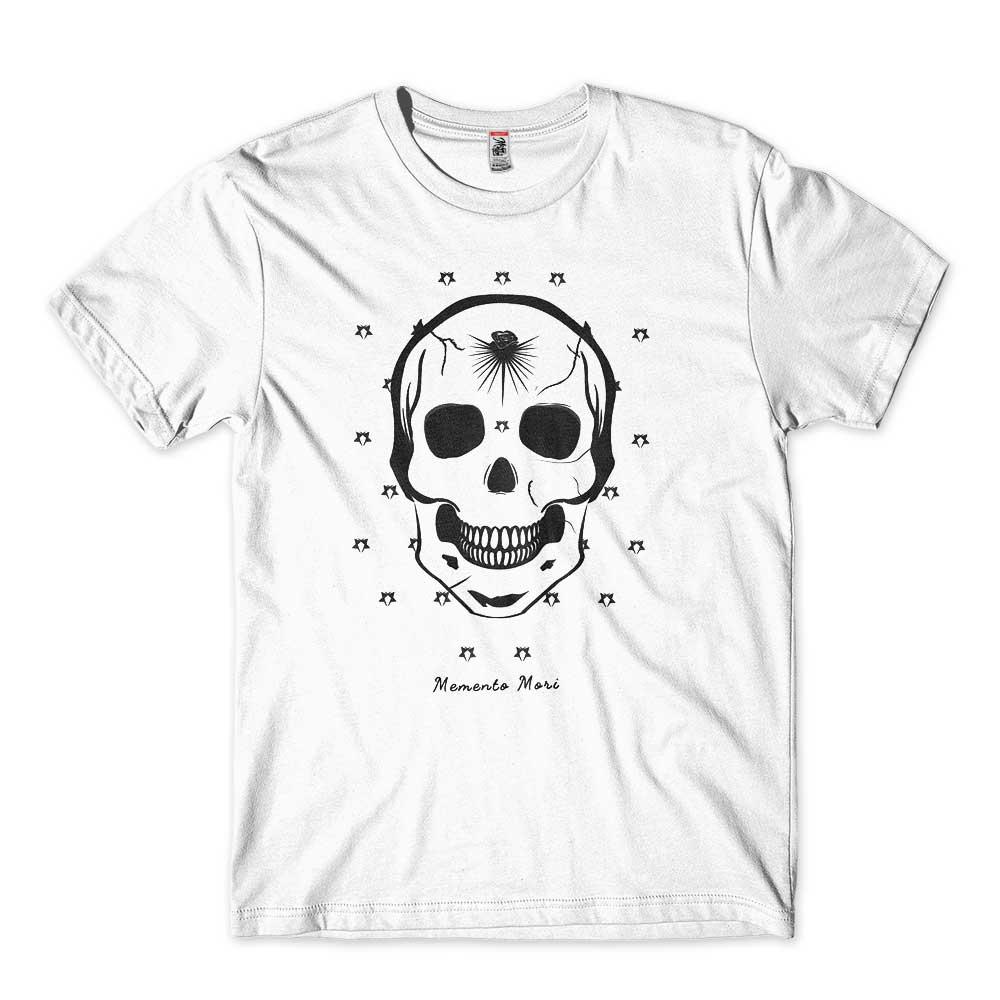 camiseta caveira filosofica memento mori
