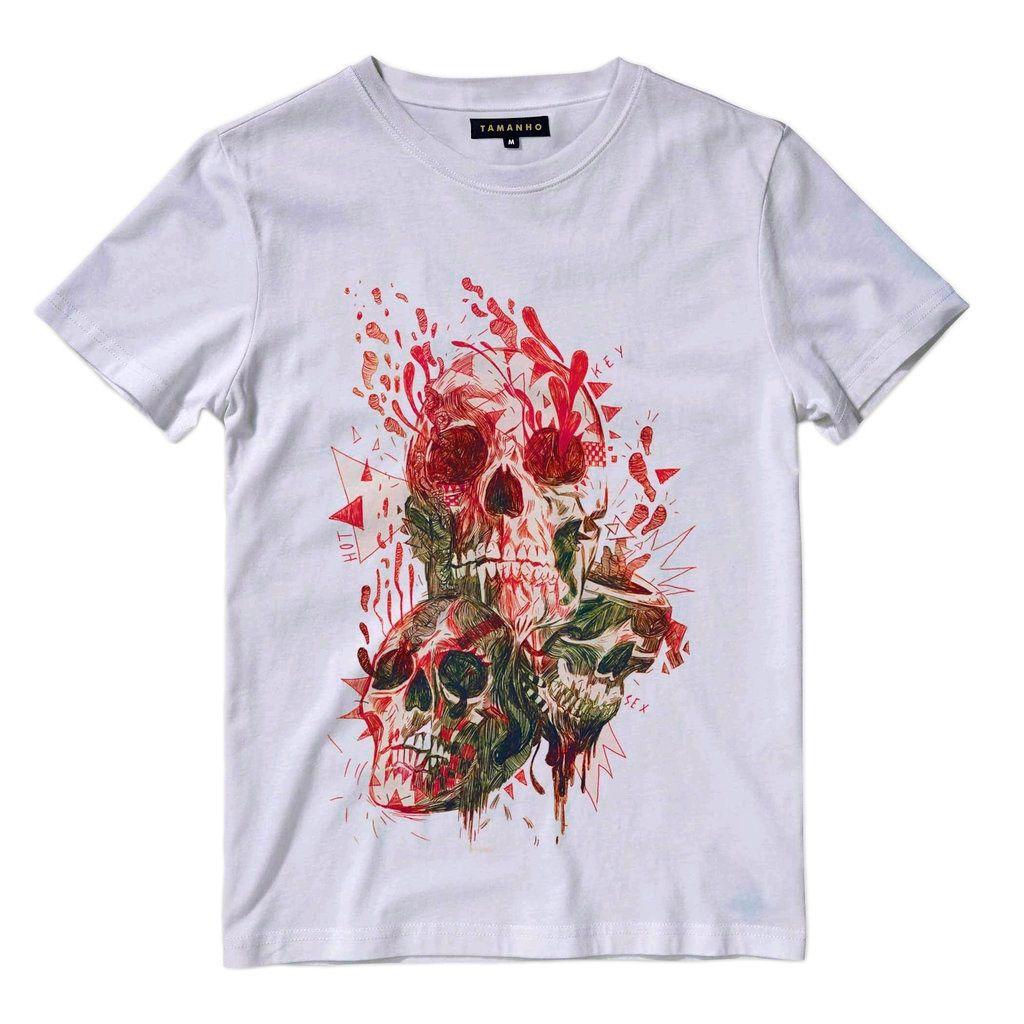 Camiseta Caveira Flores Sangue Masculina Camisa Blusa
