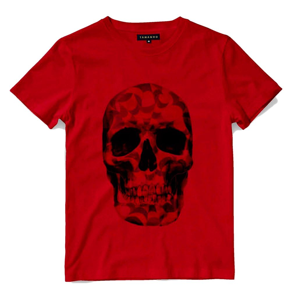 Camiseta Caveira Masculina Barata  Manga Curta