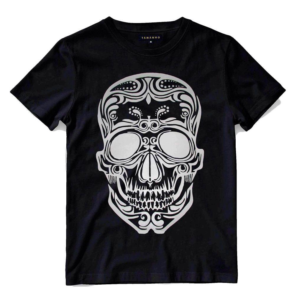 Camiseta Caveira Masculina Preta Algodão Blusa Tribal Camisa