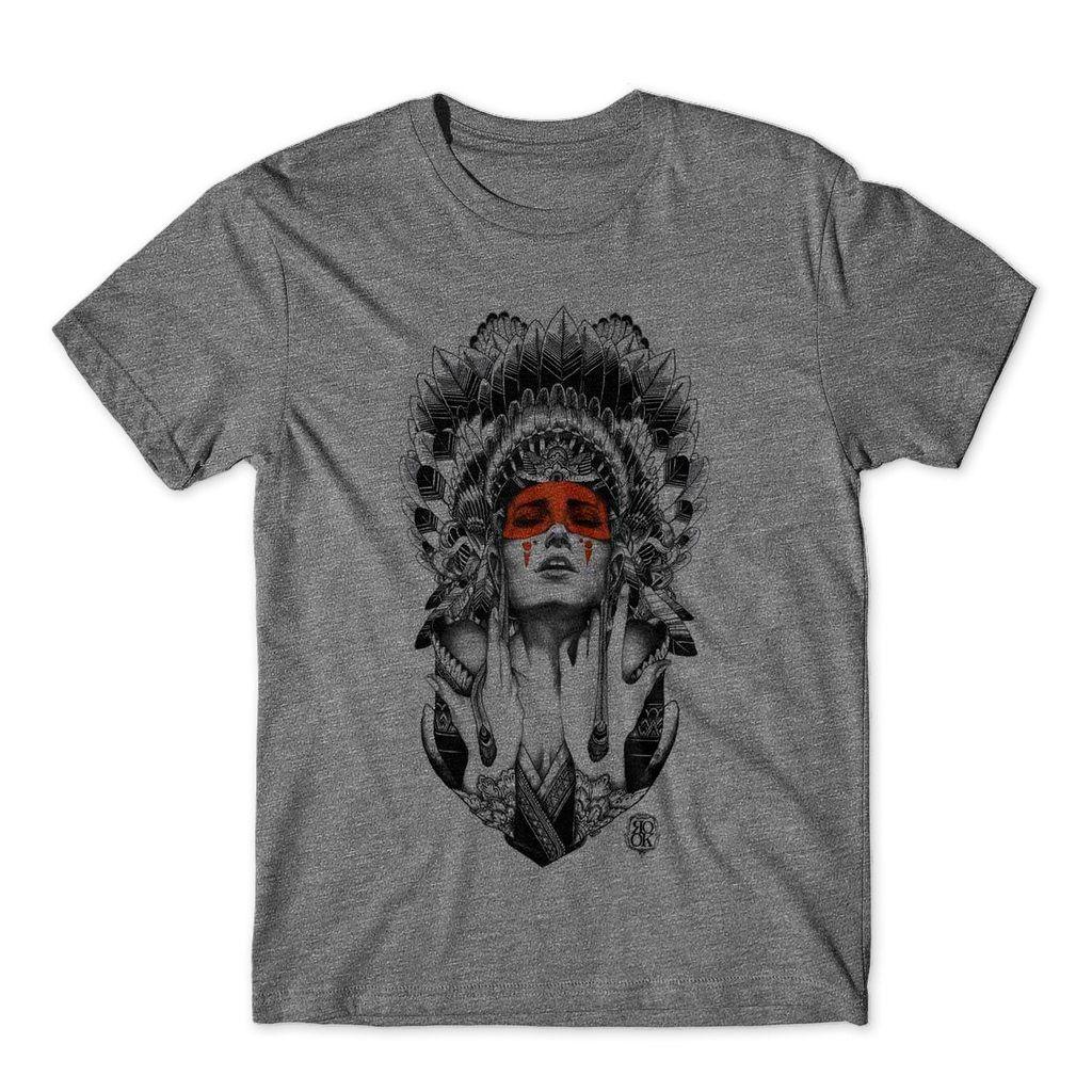 Camiseta Caveira Mexicana Indiana Masculina Cinza Barata