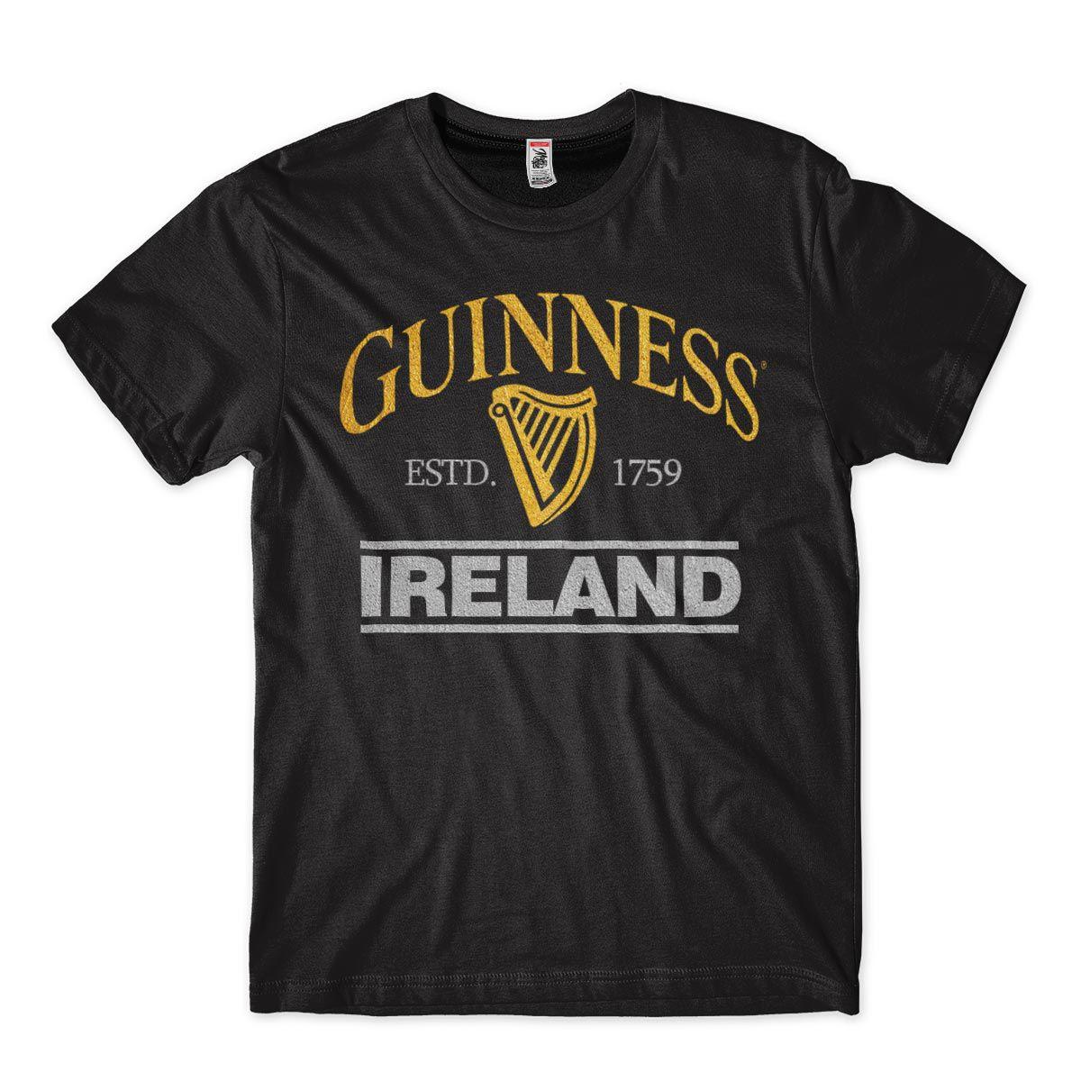 Camiseta Cerveja Guiness Ireland Balada Dourada e Prateada Masculina