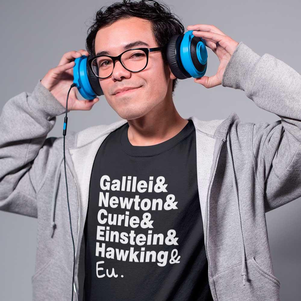 camiseta cientistas e eu tematicas engracada newton einstein