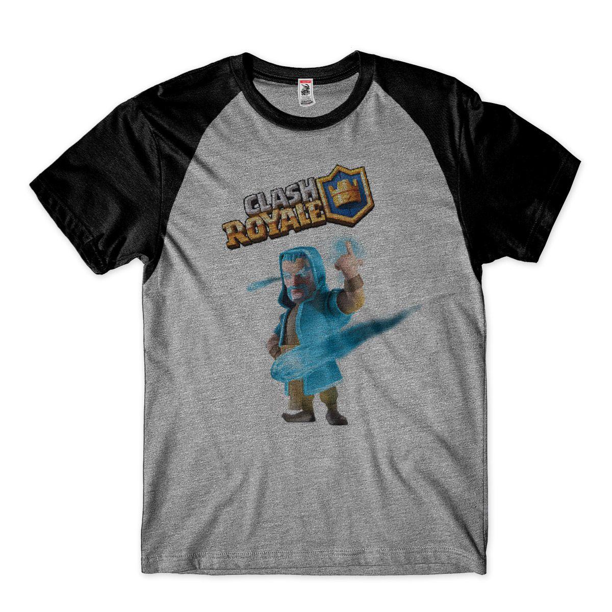 Camiseta Clash Royale Mago de Gelo Camisa Raglan Masculina