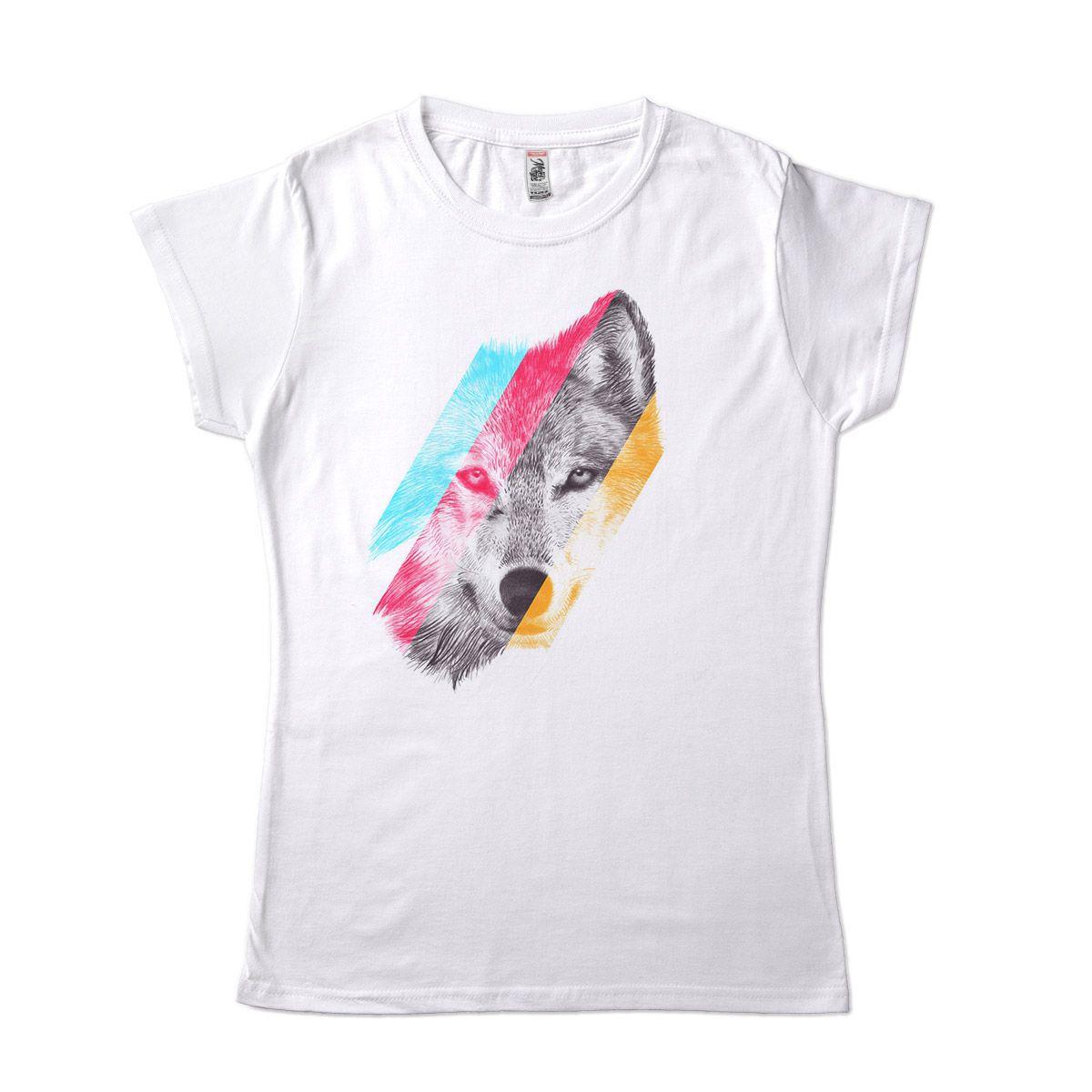 camiseta com estampa de lobo estilosa