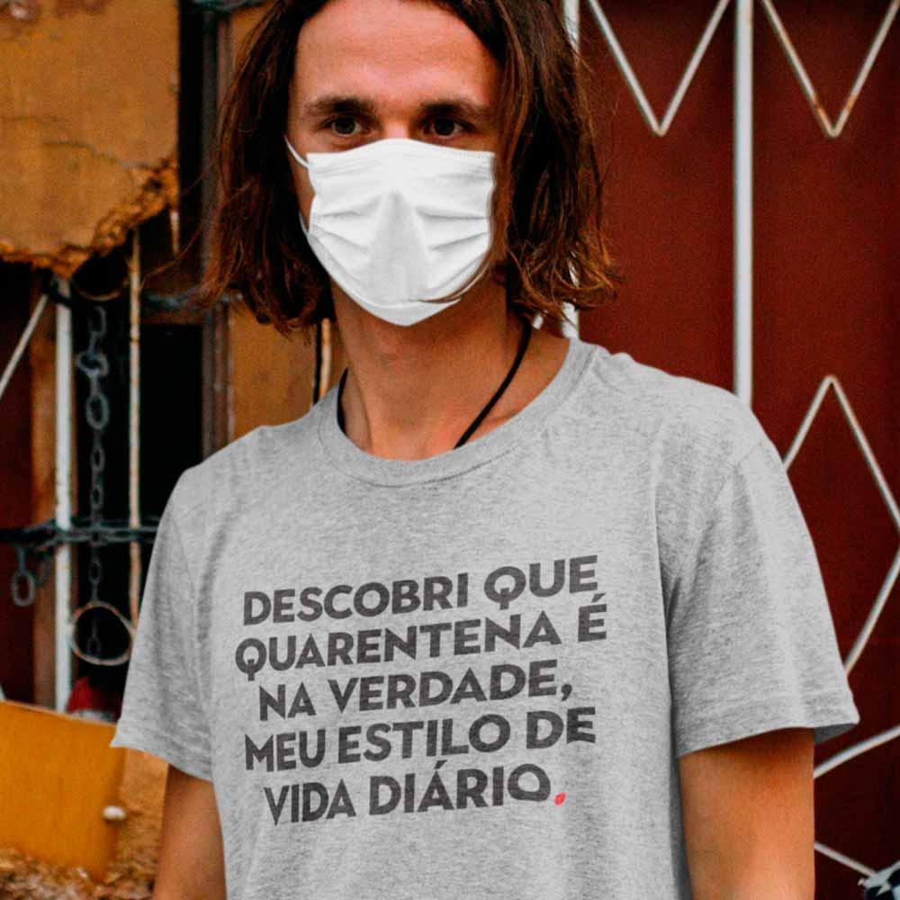 camiseta com frase engracada quarentena e meu estilo de vida