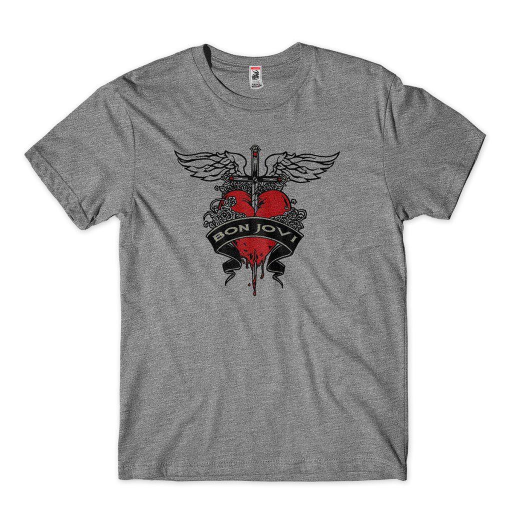 camiseta de rock com estampa do bon jovi
