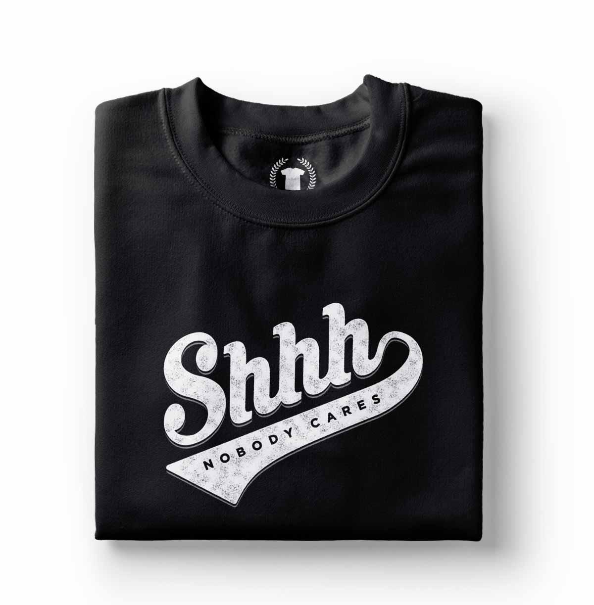 camiseta divertida masculina preta shhh