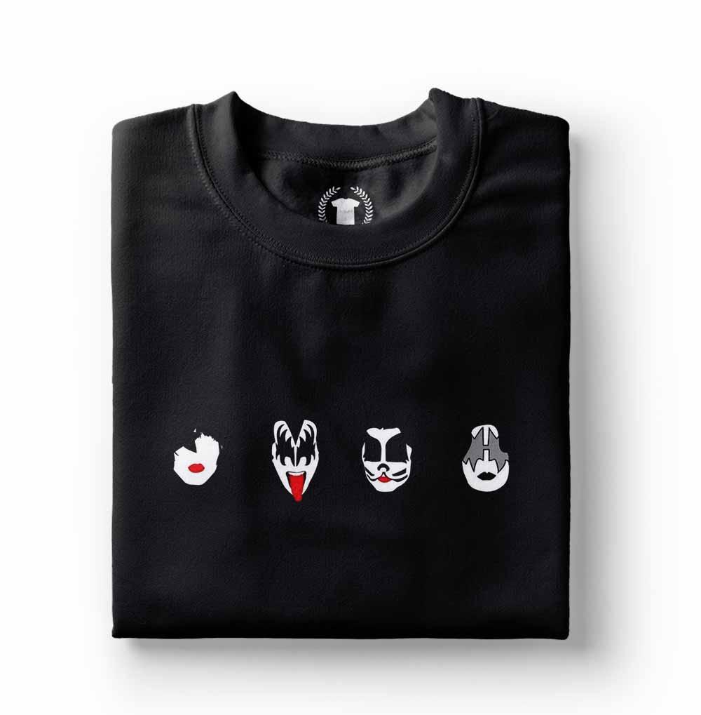 camiseta do kiss preta rostos pequenos