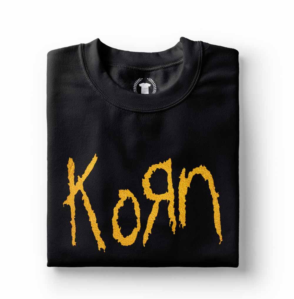 camiseta do korn com estampa dourada preta