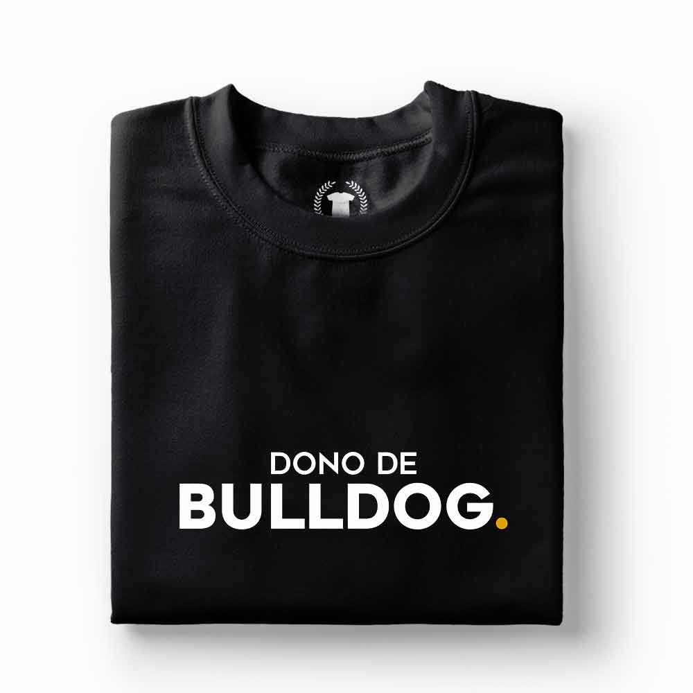 camiseta dono de cachorro bulldog preta