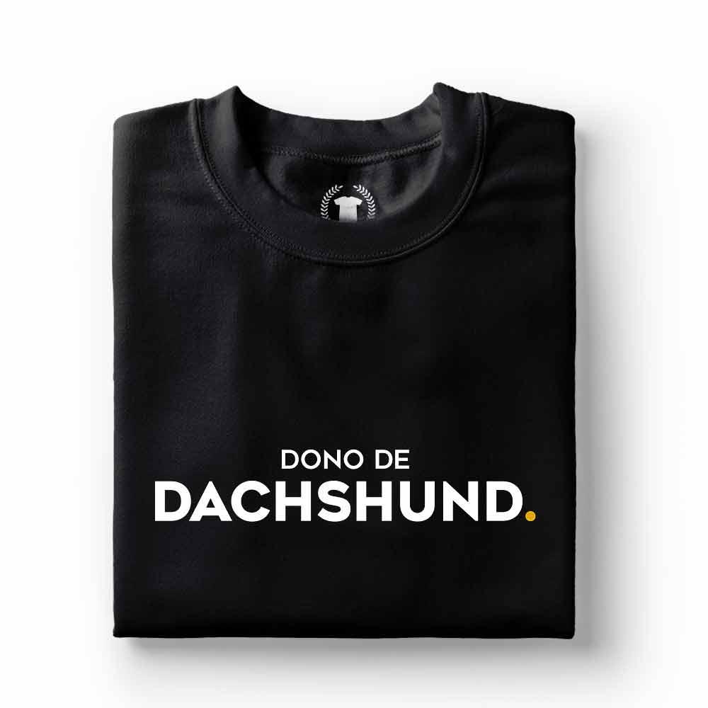 camiseta dono de cachorro dachshund preta