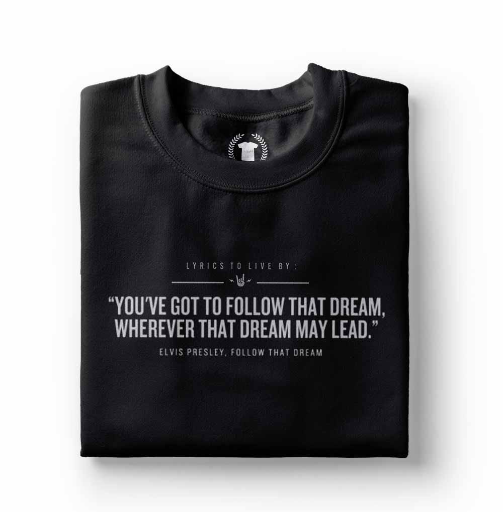 camiseta elvis presley follow that dream preta