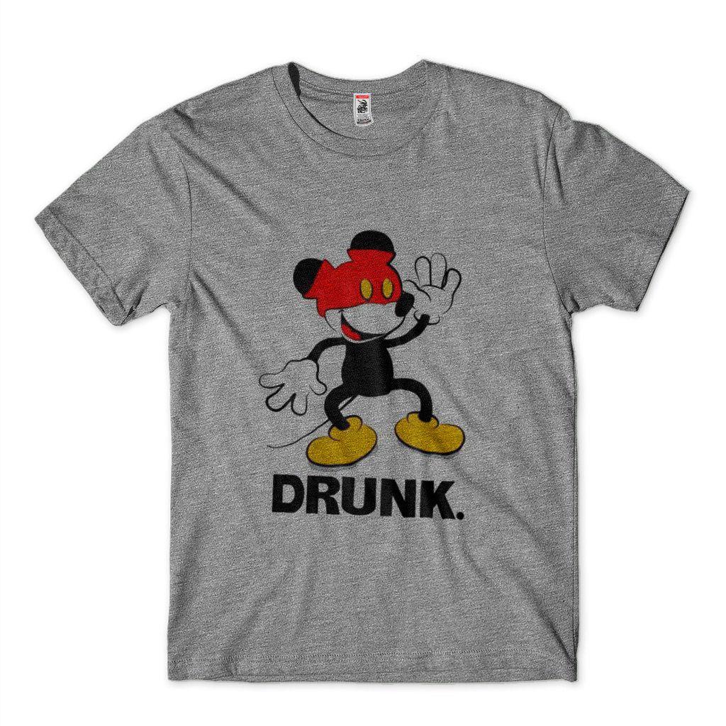 Camiseta Engracada Estampa Mickey Masculina Bêbado