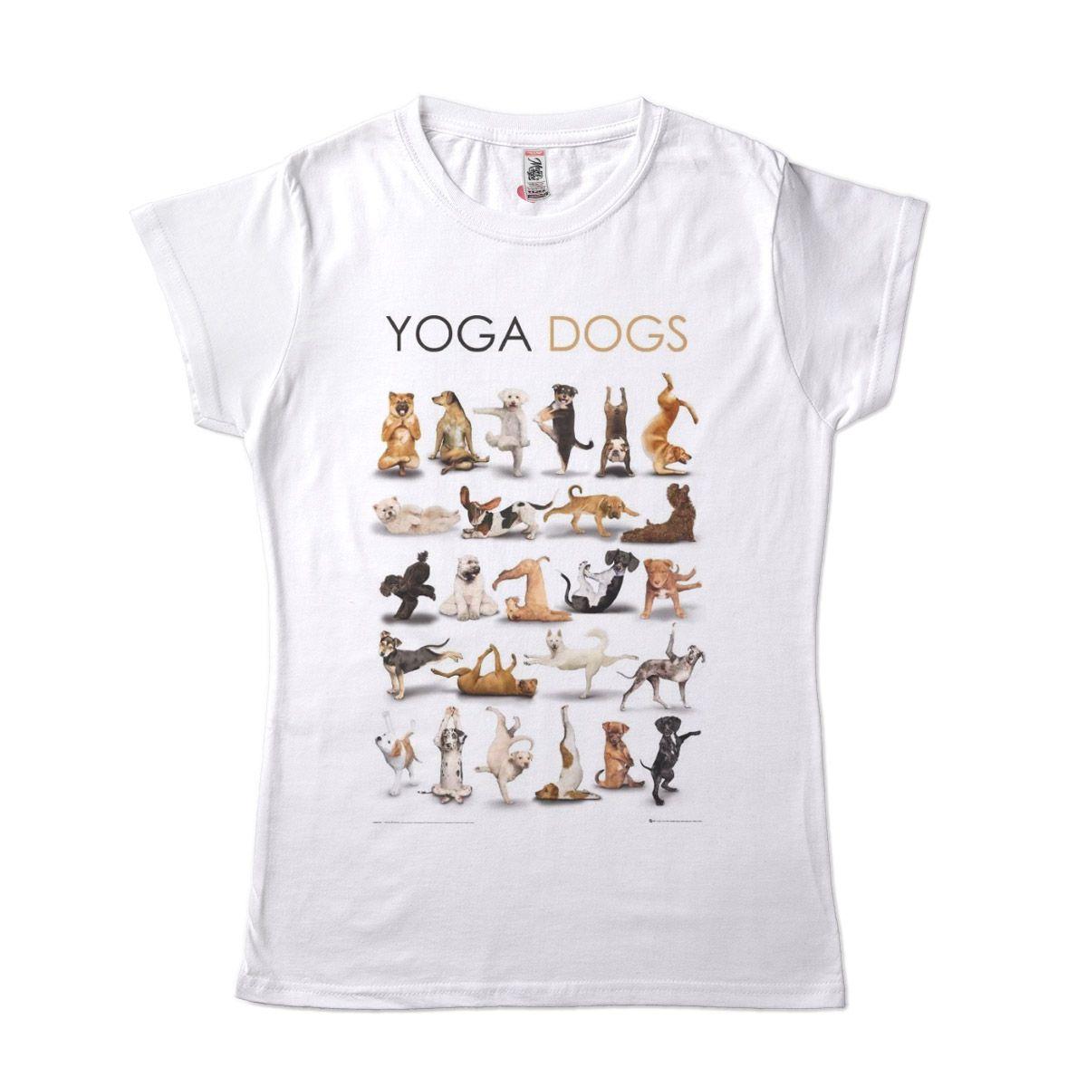 camiseta engracada yoga cachorros
