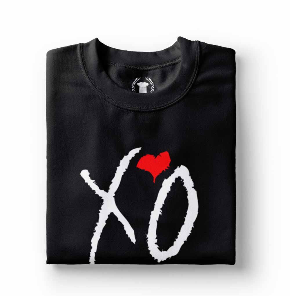 camiseta estampada the weeknd coracao preta