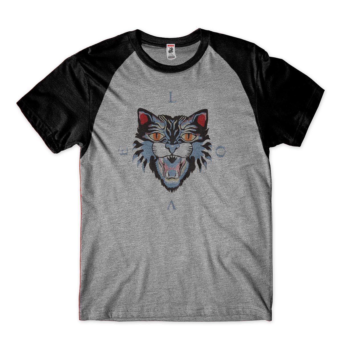 camiseta estilosa gato Selvagem Masculina tamanho M Preta