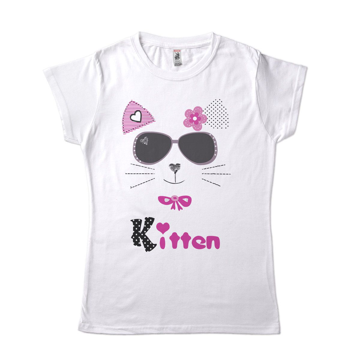 camiseta feminina estilosa com estampa de gatinha fofa