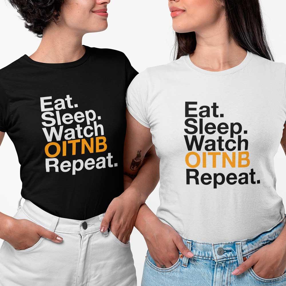 Camiseta Feminina Orande is the New Black eat sleep Repeat