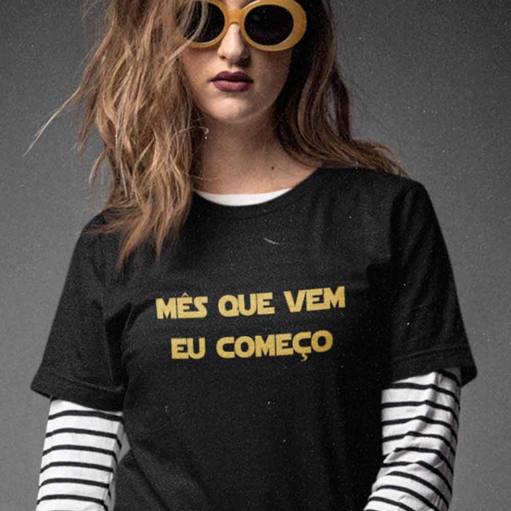 camiseta feminina preguicosa mes que vem eu comeco