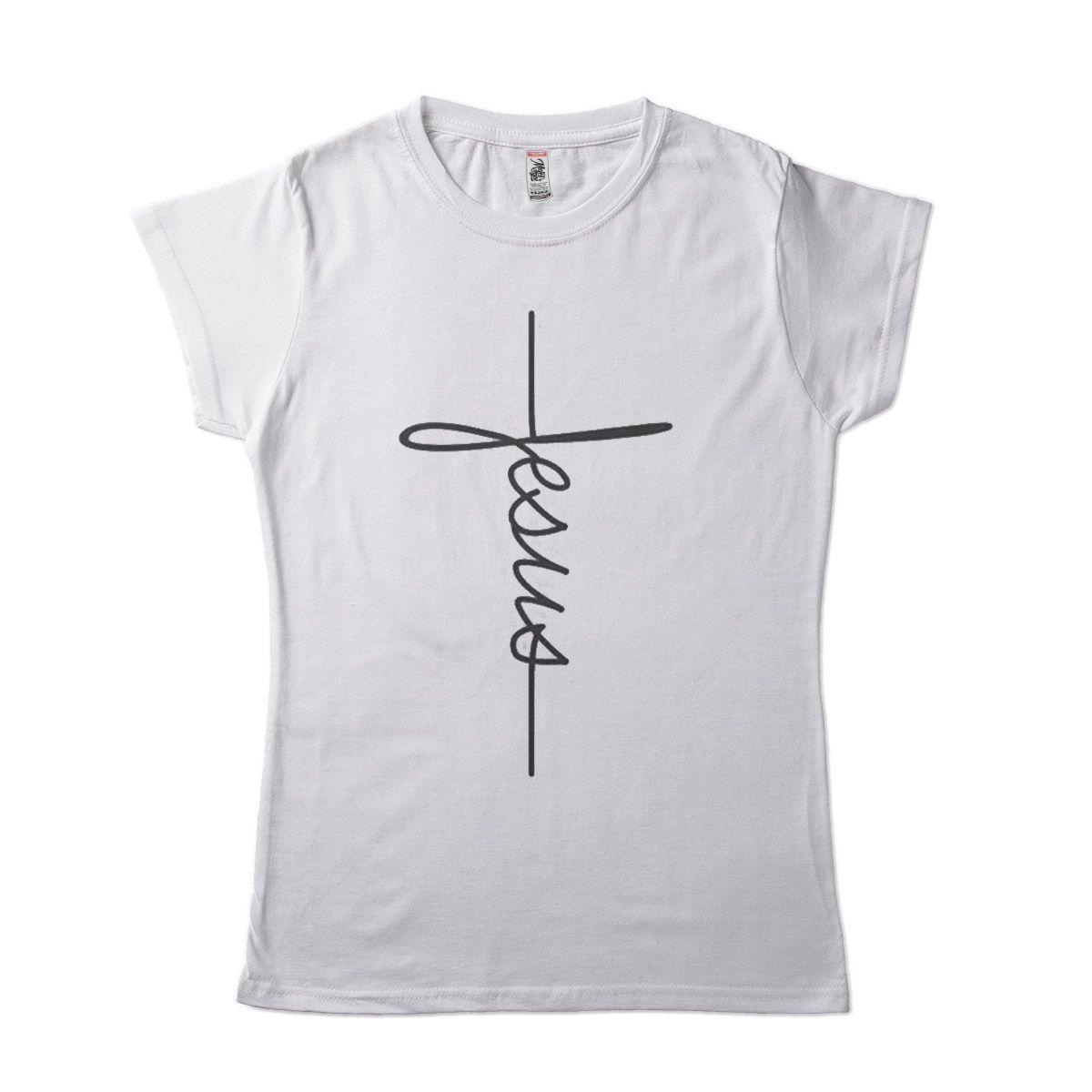 Camiseta Feminina Religiosa Jesus Escrito Na Cruz Algodao