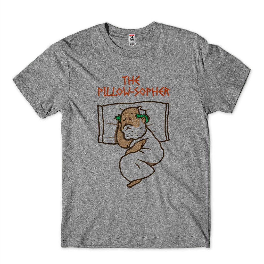 Camiseta Filosofica Engraçada Pillowsofer Camisa Cinza