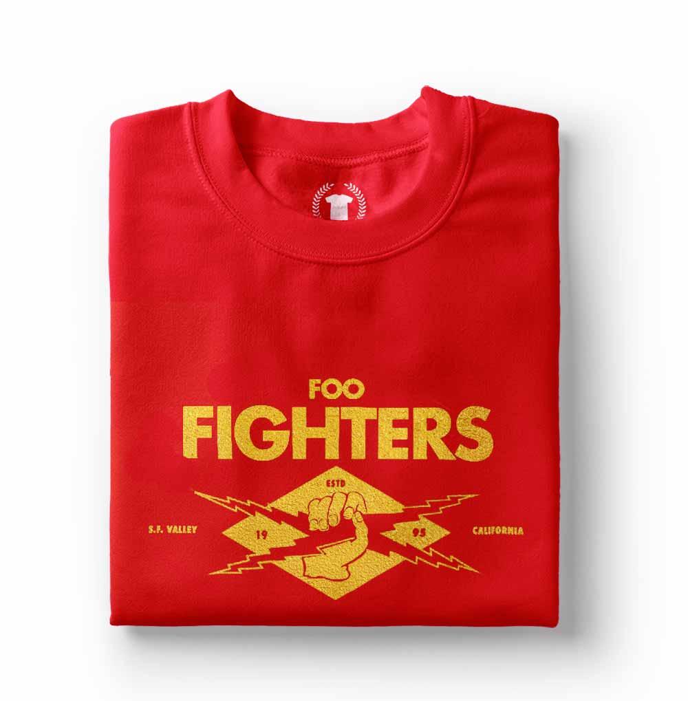 camiseta foo fighters feminina e masculina vermelha