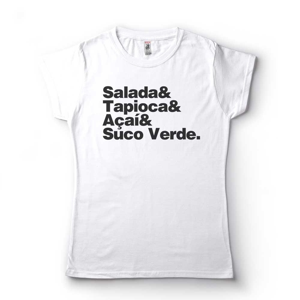 camiseta frases veganas salada tapioca acai suco verde