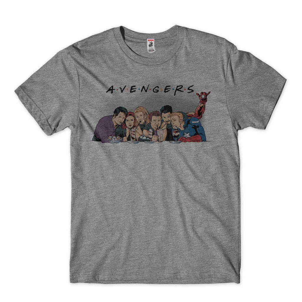 camiseta friends avengers masculina cinza