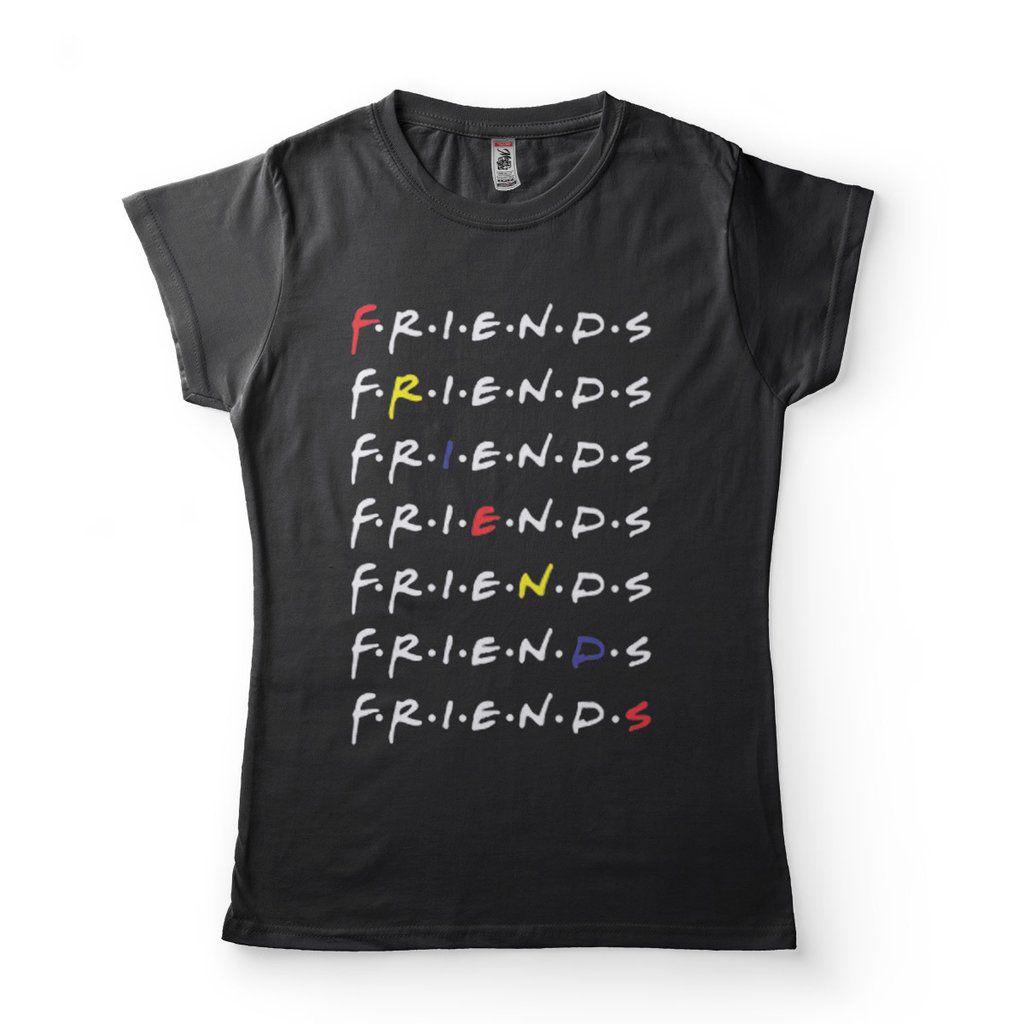 camiseta friends babylook preta estilo felipe neto