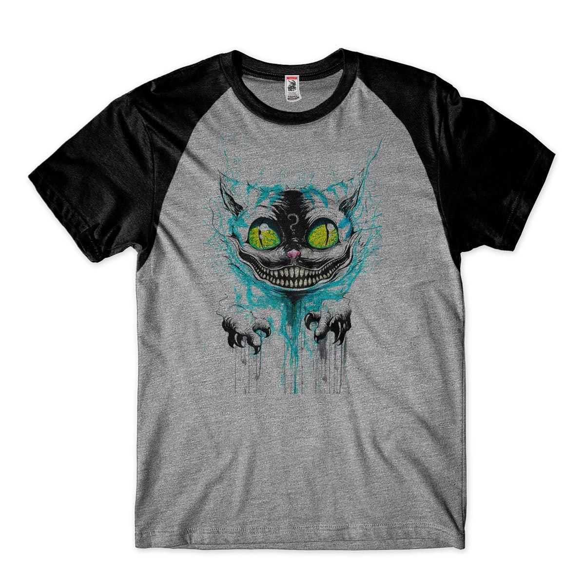 camiseta gato psicodelico estampada