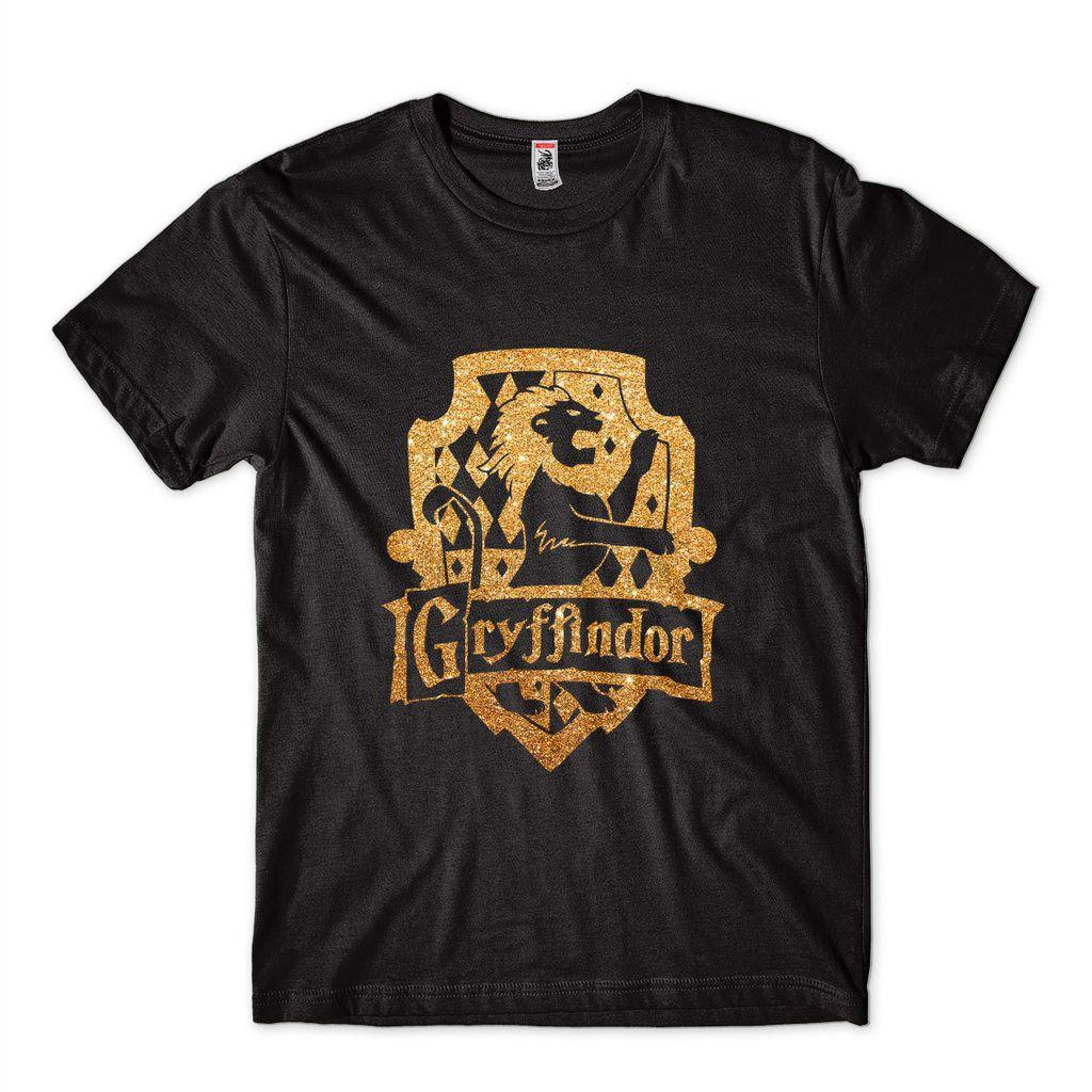 Camiseta Harry Potter Gryfiddor Dourada Masculina Algodao