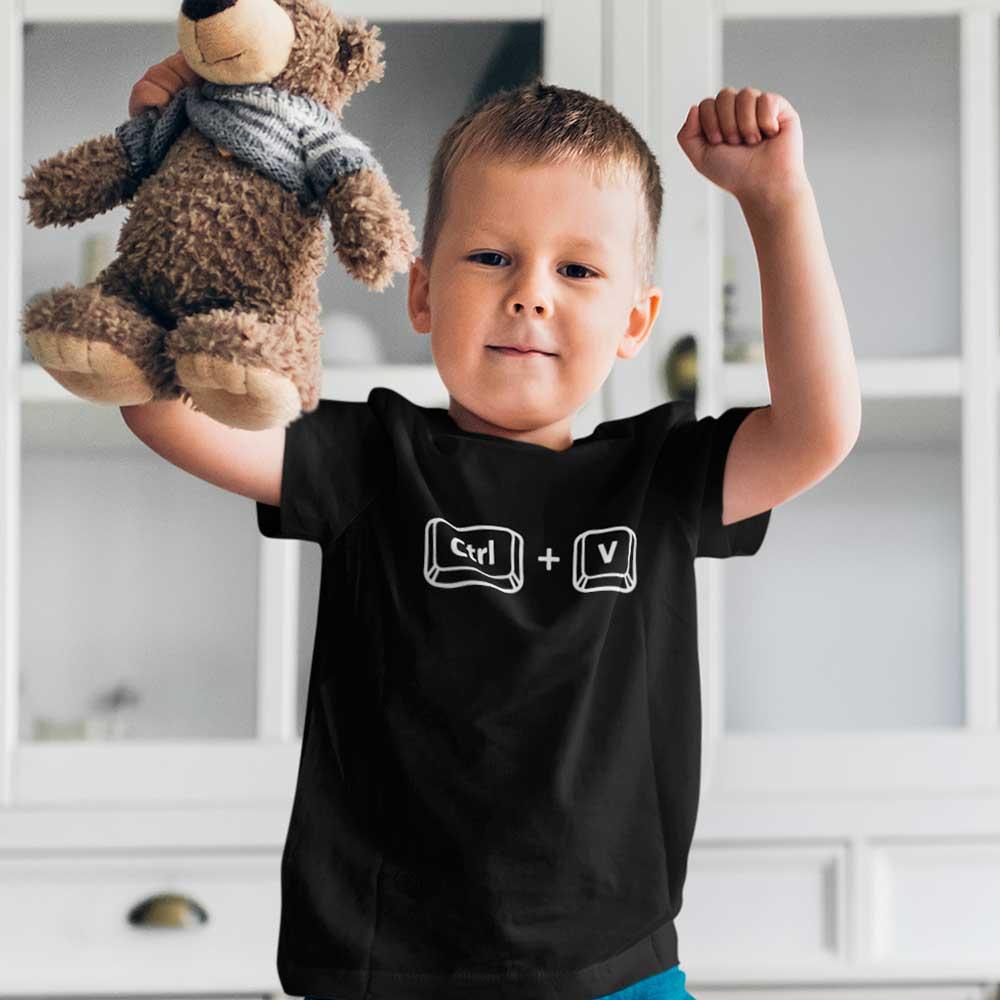 Camiseta infantil Control V pai filho cópia de pai ctrl+v