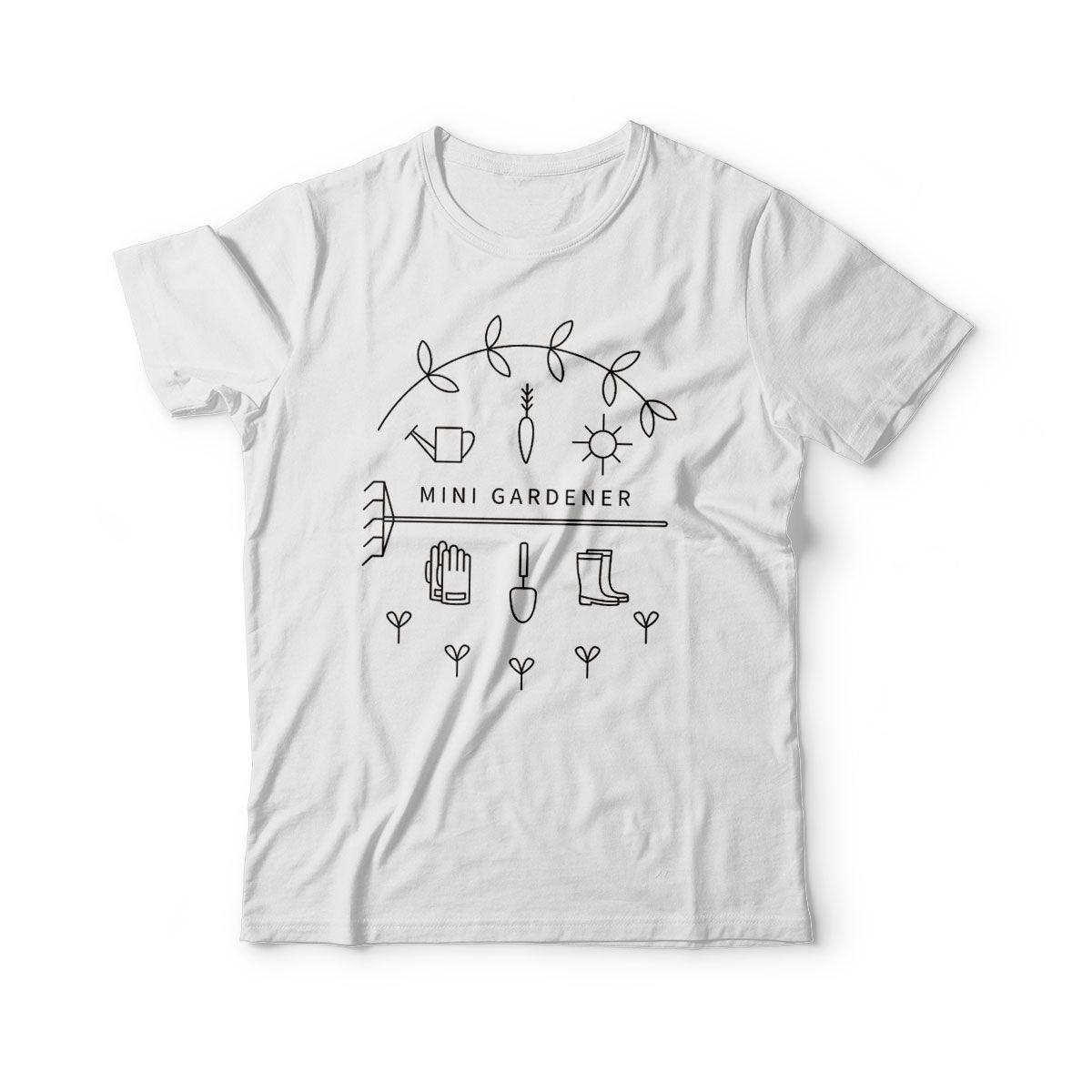 camiseta infantil estampa ecologica mini jardineiro
