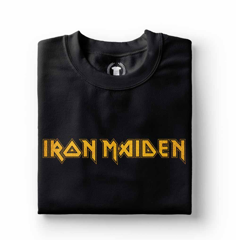camiseta iron maiden estampa dourada preta