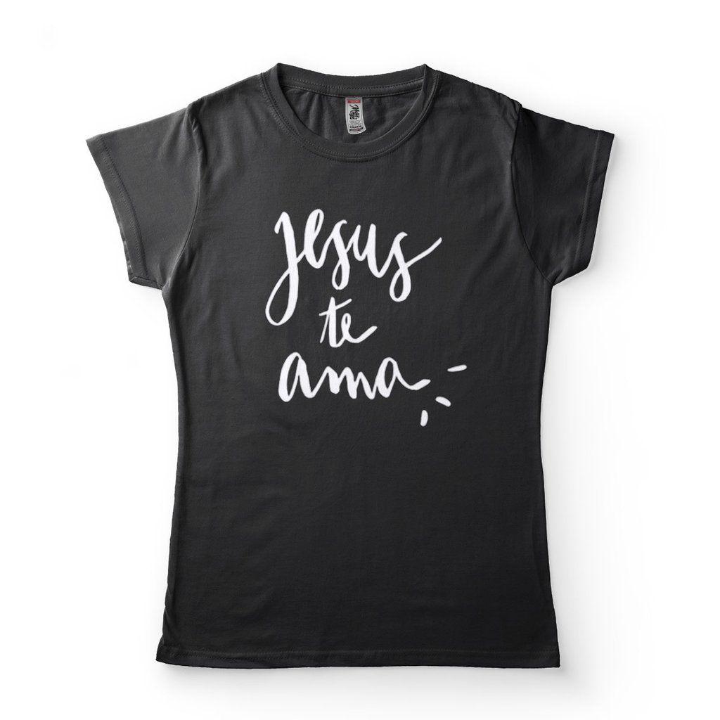 Camiseta jesus te ama babylook feminina preta