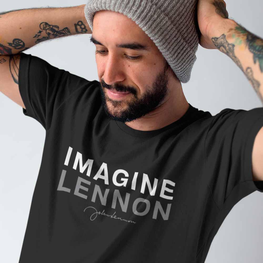 camiseta john lennon imagine preta beatles