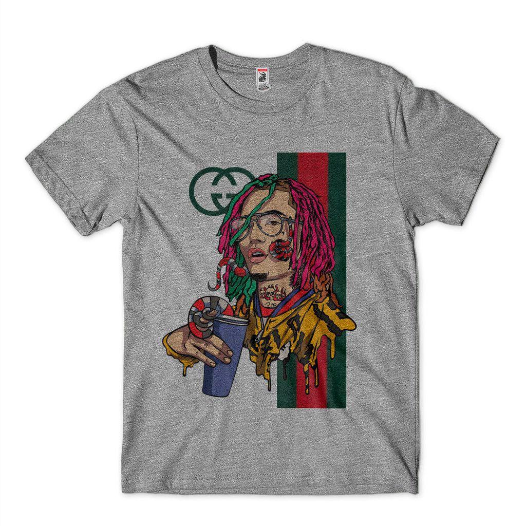 camiseta lil pump tatuado rapper gucci gang camisa estampada